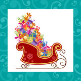 Santa sled with colorful gifts Stock Image