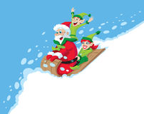 Santa Sledding Immagine Stock