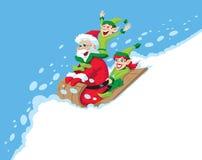 Santa Sledding Stock Image