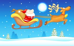 Santa in Sledge. Illustration of Santa Claus riding in sledge on Christmas Royalty Free Stock Image