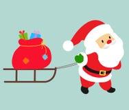 Santa and sledge. Illustration of a santa and sledge royalty free illustration