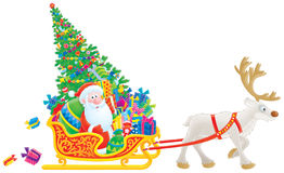 Santa sledges with the Christmas tree and gifts Royalty Free Stock Photography
