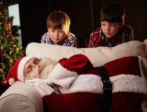 Santa sleeping Stock Photo