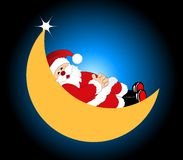 Santa sleeping on the moon Stock Image