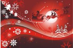 Santa sleigh. Christmas card,vector illustration Royalty Free Stock Photos
