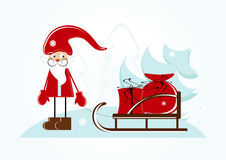 Santa with sleigh. And gift Royalty Free Stock Photo
