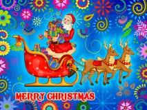 Santa Sleigh av gåvan för glad jul semestrar mycket berömbakgrund Royaltyfri Foto