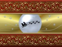 Santa Sleigh background. A beautiful illustrated background with an abstract design and Santa riding his sleigh Stock Photo