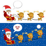 Santa Sleigh Christmas Scene. Beautiful Christmas Scene with Santa riding his sleigh and presents bag with reindeer at night with full moon and stars Royalty Free Stock Photography