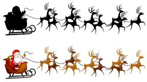 Santa Sleigh Clip Art. An illustration faturing a silhouette of Santa Claus in his sleigh with reindeer and a clip art version Stock Images