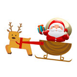 Santa with sleigh and deer Royalty Free Stock Images