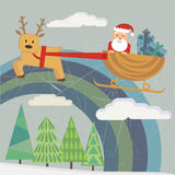 Santa with sleigh and deer Stock Photos
