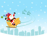 Santa With Sleigh Stock Photography
