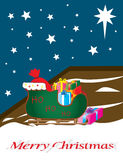 Santa sleigh full of gifts, outside, on a starlit Stock Photo