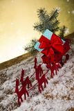 Santa sleigh on gift box background Stock Photo
