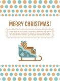 Santa sleigh, gifts card. vector illustration