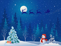 Santa sleigh and greeting snowman Stock Photo