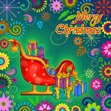 Santa Sleigh-hoogtepunt van gift voor Vrolijke de vieringsachtergrond van de Kerstmisvakantie Royalty-vrije Stock Foto's