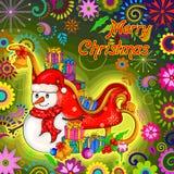 Santa Sleigh-hoogtepunt van gift voor Vrolijke de vieringsachtergrond van de Kerstmisvakantie Stock Foto's