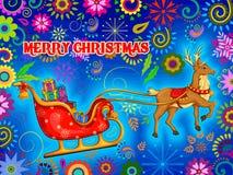 Santa Sleigh-hoogtepunt van gift voor Vrolijke de vieringsachtergrond van de Kerstmisvakantie Stock Afbeeldingen