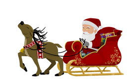 Santa on sleigh. Isolated santa on his sleigh on transparent background Stock Image
