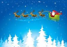 Santa sleigh in night sky - Illustration Stock Image