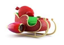 Santa sleigh och Santas säck med gåvor Arkivbild
