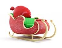 Santa sleigh och Santas säck med gåvor Fotografering för Bildbyråer