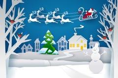 Santa Sleigh Reindeer Fly Sky Photos libres de droits