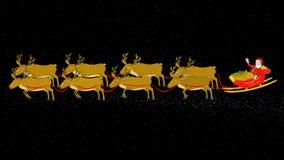Santa, Sleigh, Reindeer Fly & Stop-Transparent/Alpha stock video