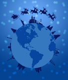 Santa Sleigh and Reindeer Flying Around the World vector illustration