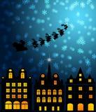 Santa Sleigh Reindeer Flying Over Victorian Houses royalty free illustration