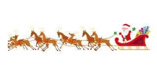 Santa Sleigh and Reindeer. Illustration Stock Photos