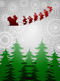 Santa Sleigh Reindeer Trees Silver Background Royalty Free Stock Photo