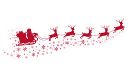 Santa on Sleigh and with reindeers. Stock Image
