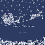 Santa on Sleigh with Reindeers and Snowflakes 2 Royalty Free Stock Image