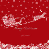 Santa on Sleigh with Reindeers and Snowflakes 2 Stock Images