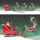 Santa sleigh and reindeers. Vector ilustration of Santa Claus Stock Photography