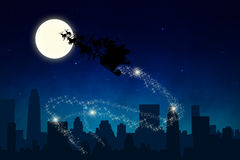Santa Sleigh Ride in the Night Stock Photography