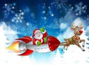 Santa Sleigh Rocket Christmas Background illustration stock
