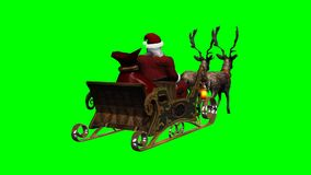 Santa with sleigh and running reindeers - green screen stock footage