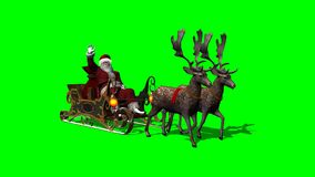 Santa with sleigh and running reindeers - green screen stock video footage