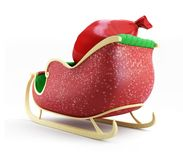 Santa sleigh and Santa's Sack with Gifts. On white background Royalty Free Stock Photography