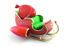 Santa sleigh and Santa's Sack with Gifts Stock Images