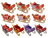 Santa Sleigh Set 3D Stockfotos