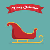 Santa sleigh with shadow and ribbon. Vector illustration Stock Photography