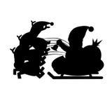 Santa Sleigh Silhouette stock illustrationer