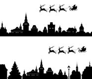 Santa sleigh silhouette. Illustration of Santa sleigh flying over old town Royalty Free Stock Image