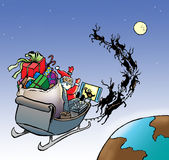 Santa in sleigh watching football. Santa delivering presents on Christmas day watching football on TV in his sleigh in flight color illustration Stock Photos