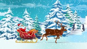 Santa in a sleigh on Winter road stock video footage